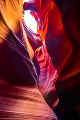 Sandstone formations in famous Upper Antelope Canyon in Arizona, USA