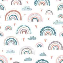 Cute rainbows and hearts seamless pattern. Adorable background