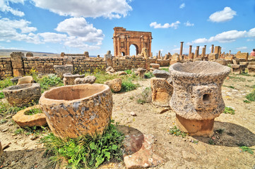 Timgad -  a Roman-Berber city in the Aurès Mountains of Algeria.