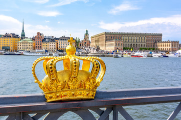 Stockholm old town with Royal palace and Royal crown, Sweden