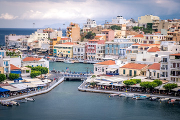 Aerial view to Agios Nikolaos, town on Crete island in Greece.