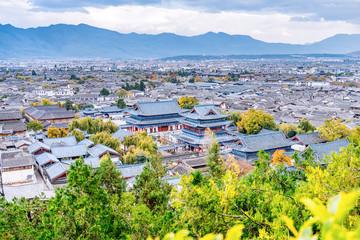 High-angle scenery of Dayan Ancient City and Mufu, Lijiang, Yunnan, China