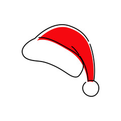 Icono plano lineal gorro Papá Noel con color rojo