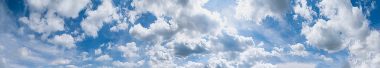 Blue sky with clouds (wide background panorama).