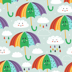 seamless pattern with cute umbrella and rain cloud   - vector illustration, eps