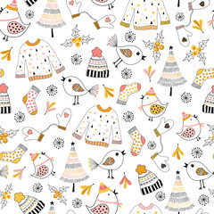 Doodle winter kids seamless vector pattern. Repeating background sketch illustration sweater, hat, birds, Christmas tree, mittens and socks. Cute holiday design for fabric, gift wrap, surface design