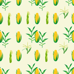 Cute seamless pattern with cartoon emoji corn