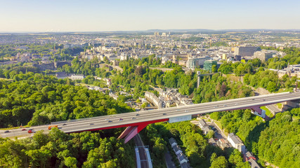 Luxembourg, Historical city center in the morning. Pont Rouge, Aerial View