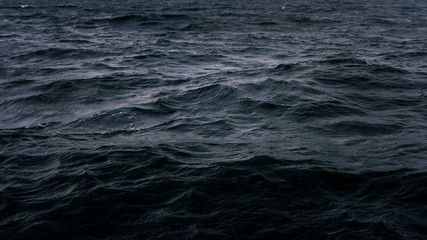 Dark and deep blue ocean, Water surface