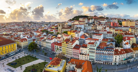 Lisbon Panorama Alfama cityscape, beautiful European city with old architecture