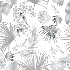 Seamless vector pattern of tropical jungle silver palm tree leaves