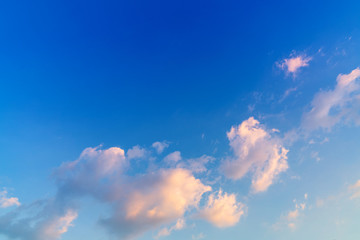 White cloud and blue sky background with copy space