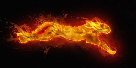 digital illustration of fire cheetah