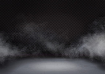 White fog or smoke on dark background. Cloud or mist texture on floor or ground. Realistic vector
