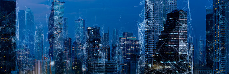 Wireless network and Connection technology concept with Abstract Bangkok city background