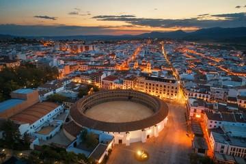 Plaza de Toros de Ronda aerial view night