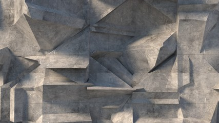3d cement wall rendering- 3d illustration