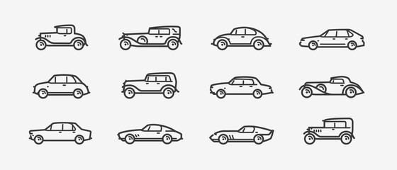 Car icon set. Transport, transportation symbol in linear style. Retro vector