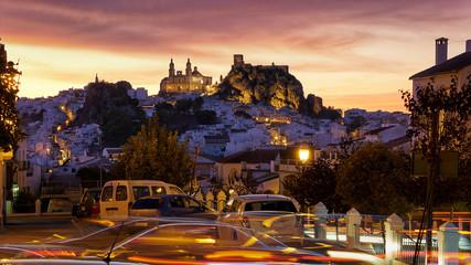Espectacular Sky at Dusk Over the White Town of Olvera Cadiz Sierra
