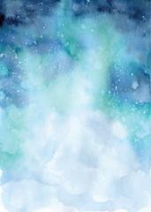 Watercolor abstract ocean illustration, blue sea landscape