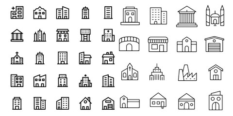 church building icon set of design element