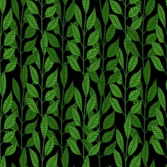 Forest leaves seamless pattern on black background.