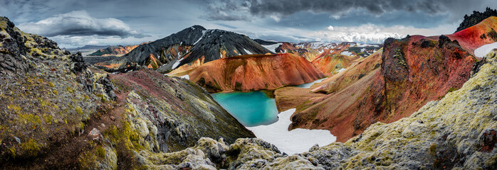 Panoramic view of colorful rhyolite volcanic mountains Landmannalaugar as pure wilderness in Iceland and a hidden highland lake, Iceland