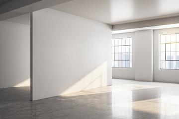 Modern concrete gallery interior