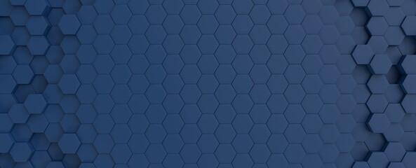 Hexagonal dark blue navy background texture placeholder, radial center space, 3d illustration, 3d rendering backdrop