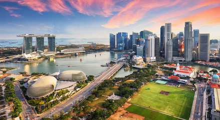 Aerial view of Cloudy sky at Marina Bay Singapore city skyline