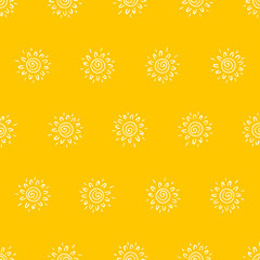 Hand drawn doodle Sun Seamless pattern. Vector Background for kids