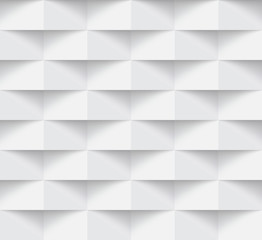 White modern absrtact seamless geometric pattern, 3d paper art style that looks creased