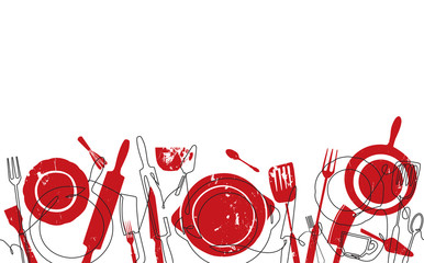 Cooking Seamless Pattern. Background with Utensils. Continuous drawing style. Vector illustration.