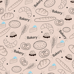 Seamless pattern - bakery products and bread. Vector illustration. For packaging design and menu. Dark elements on a light background.