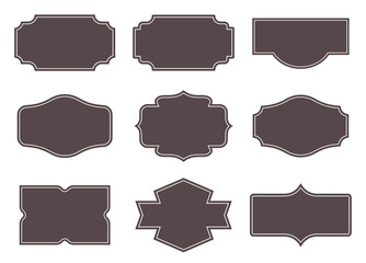 Vintage labels. Retro frames set. Vector