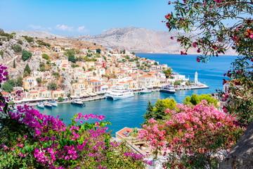 Symi pejzaż miejski, wyspy Dodekanez, Grecja