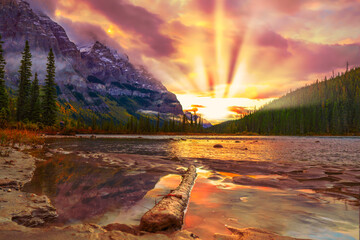 Colorful Sunrise Over Mountain River