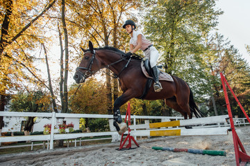 Young horse rider sportswoman on equestrian sport competition.