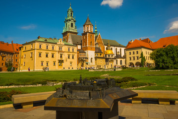 KRAKOW, POLAND: Lots of tourists visiting famous historical complex of Wawel Royal Castle and Cathedral in Krakow