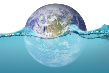 Flooding the world ,The world under water after flood from hot air, Elements of this image furnished by NASA.