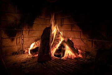 fire in fireplace. warm winter