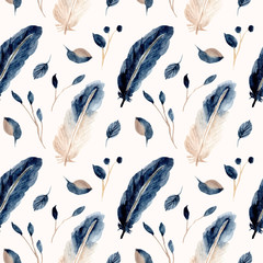 blue feather and leaf watercolor seamless pattern