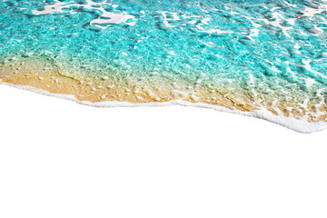 Blue sea wave tide pattern on white background isolated closeup top view, turquoise ocean water surf texture, summer holidays frame border, tropical vacation backdrop, travel banner design, copy space