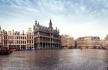 Panorama of the Market Square or Grand Place in Brussels in autumn rainy weather, Belgium