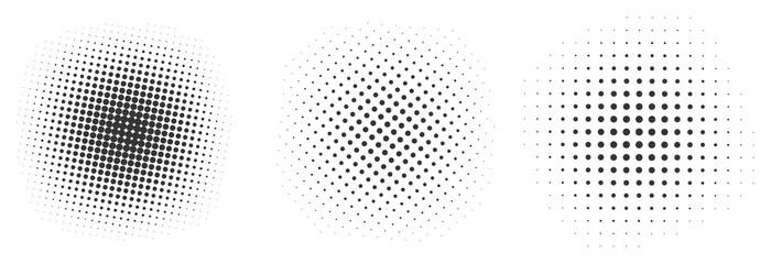 Set of black halftone dots backgrounds.