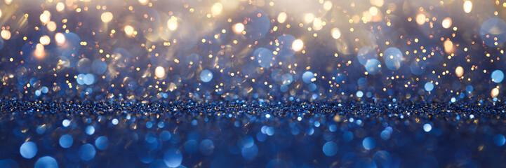 Vintage lights background. Gold lights and blue glitter. defocused