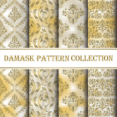 collection of seamless patterns damask, abstract in pastel gold and silver