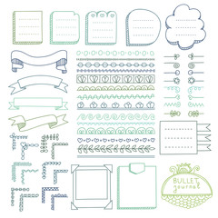 Bullet journal hand drawn vector elements for notebook, diary and planner. Doodle banners isolated on white background.
