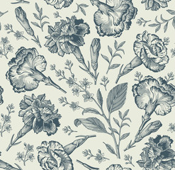 Seamless pattern. Beautiful fabric blooming realistic isolated flowers. Vintage background. Set Carnation clove Croton wildflowers. Wallpaper baroque. Drawing engraving. Vector victorian illustration