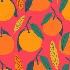 Citrus hand drawn seamless pattern for print, textile, fabric. Modern hand drawn stylized mandarins background.